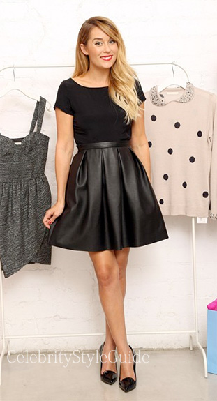 Lauren-Conrad-wearing-Black-Leather-Skirt-to-the-A-Sweet-Boutique-Trunk-Show