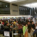 Bustling security line at LAX international