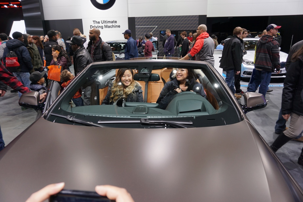 Stell and I taking some kiddos on a joy ride to Disneyland in the BMW 650i NAIAS 2016