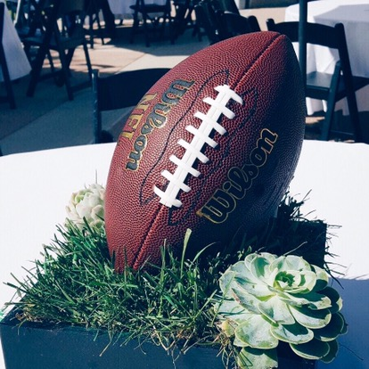 She used junior footballs for the centerpiece