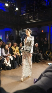 Metallic Blazer and Jewelled Rhinestone Pencil Skirt Willfredo Gerardo NYFW 2016