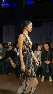 Sheer Nude and Black Applique Gown Willfredo Gerardo NYFW 2016