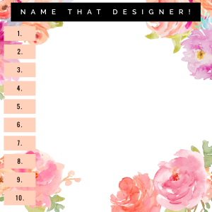 Name That Designer Answer Card